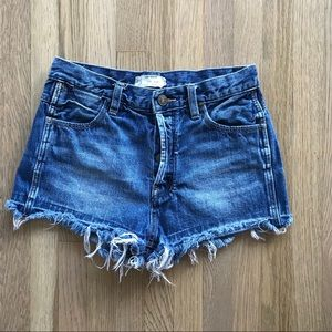 Free People Button Fly High Waist Denim Shorts